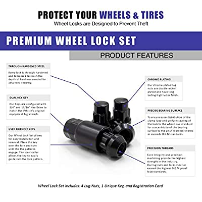 Wheel Accessories Parts Wheel Locks Set Locking Lug Nut M12x1.50 Thread Bulge Acorn Black Finish: Automotive