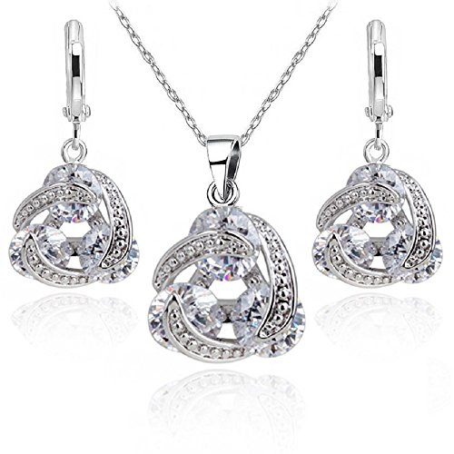 845efbd11ad Wedding Set whit White Round Zirconia Crystals Pendant Necklace 18