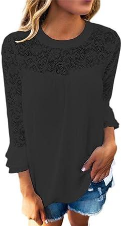 Blusas & tuniken para mujer, sueño habitaciones Ásperas 3/4 – Mangas Cuello Tops Mujer bordados puntas Camisa, blusa T – Camiseta, Negro , pequeño: Amazon.es: Hogar