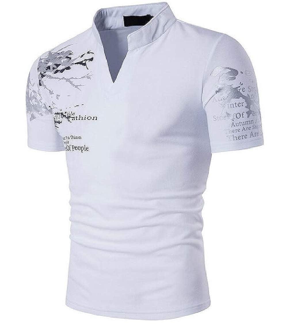 Nanquan Men Short Sleeve V-Neck Leisure Letter Printing Fashion Printed T-Shirt