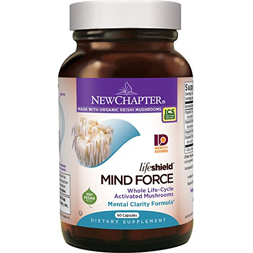 New Chapter Lion's Mane + Reishi Mushroom - LifeShield Mind Force for Mental Clarity with Organic Reishi Mushroom + Vegan + Non-GMO Ingredients - 60 ct