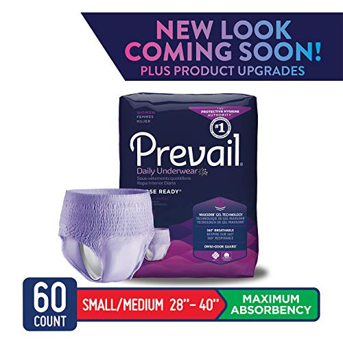 Prevail Maximum Absorbency Incontinence Underwear for Women Small/Medium 60 Count Breathable Rapid Absorption Discreet Comfort Fit Adult Diapers