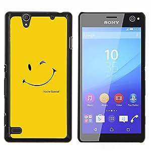 Cubierta protectora del caso de Shell Plástico || Sony Xperia C4 || Guiño sonriente feliz amarilla de Sun del oro @XPTECH