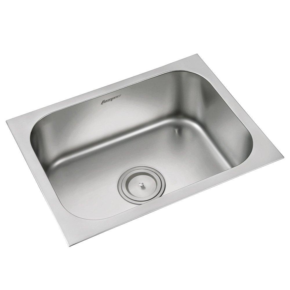 Anupam stainless steel kitchen sink 113a 610 x 460 x 200 mm 24 x 18 x 8 inch single square bowl 304 grade satin matt finish amazon in home kitchen