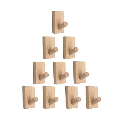 Amazon.com: XH - Juego de 10 ganchos de madera para ...