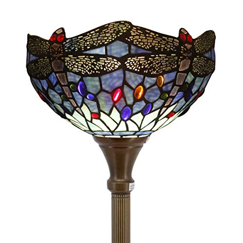 Tiffany Style Torchiere Light Floor Standing Lamp Wide 12 Tall 66 Inch Blue Stained Glass Crystal Bead Dragonfly Lampshade for Living Room Bedroom Antique Table Set S004 WERFACTORY (Fly Lamp Dragon)