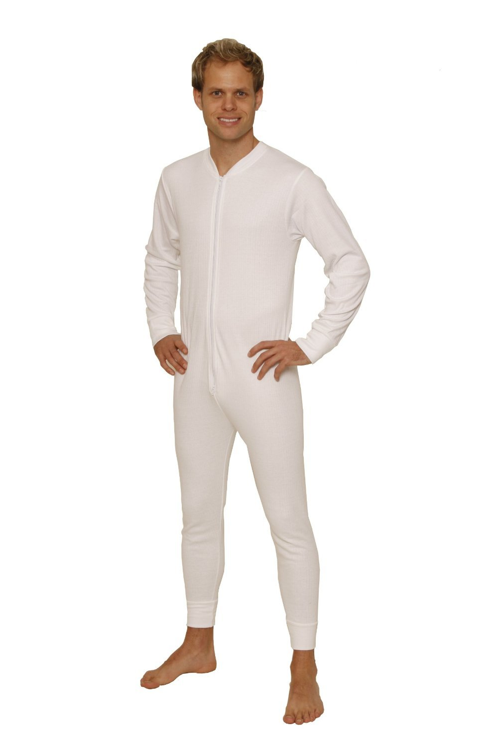 Octave Mens Thermal Underwear All in One Union Suit with Zipped Back Flap (Ex-Ex-Large: Chest 48-50 inches, White)