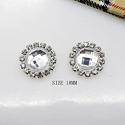 50pcs/Lot 18mm Round White Acrylic Embellishment Rhinestone Button Flateback DIY Accessories Wedding Ribbon