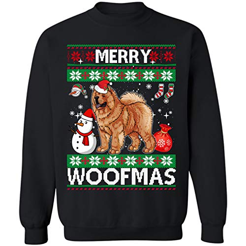 Chow Chow Dog Merry Woofmas Crewneck Sweatshirt Christmas Costume (Black - M) -