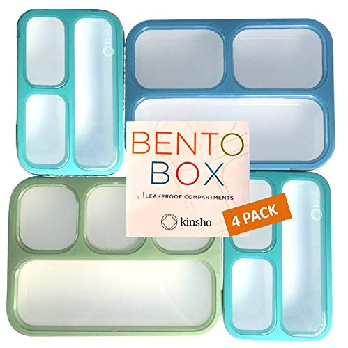 Leakproof Bento Lunch and Snack Boxes. Family Pack of 4 Meal Planning Portion Containers For Women, Adults. BPA Free. Utensils. Blue, Green