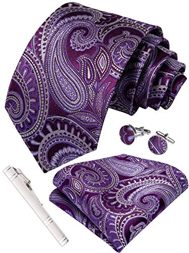 DiBanGu Paisley Tie Pocket Square Purple Silk Tie Handkerchief Cufflink Set -