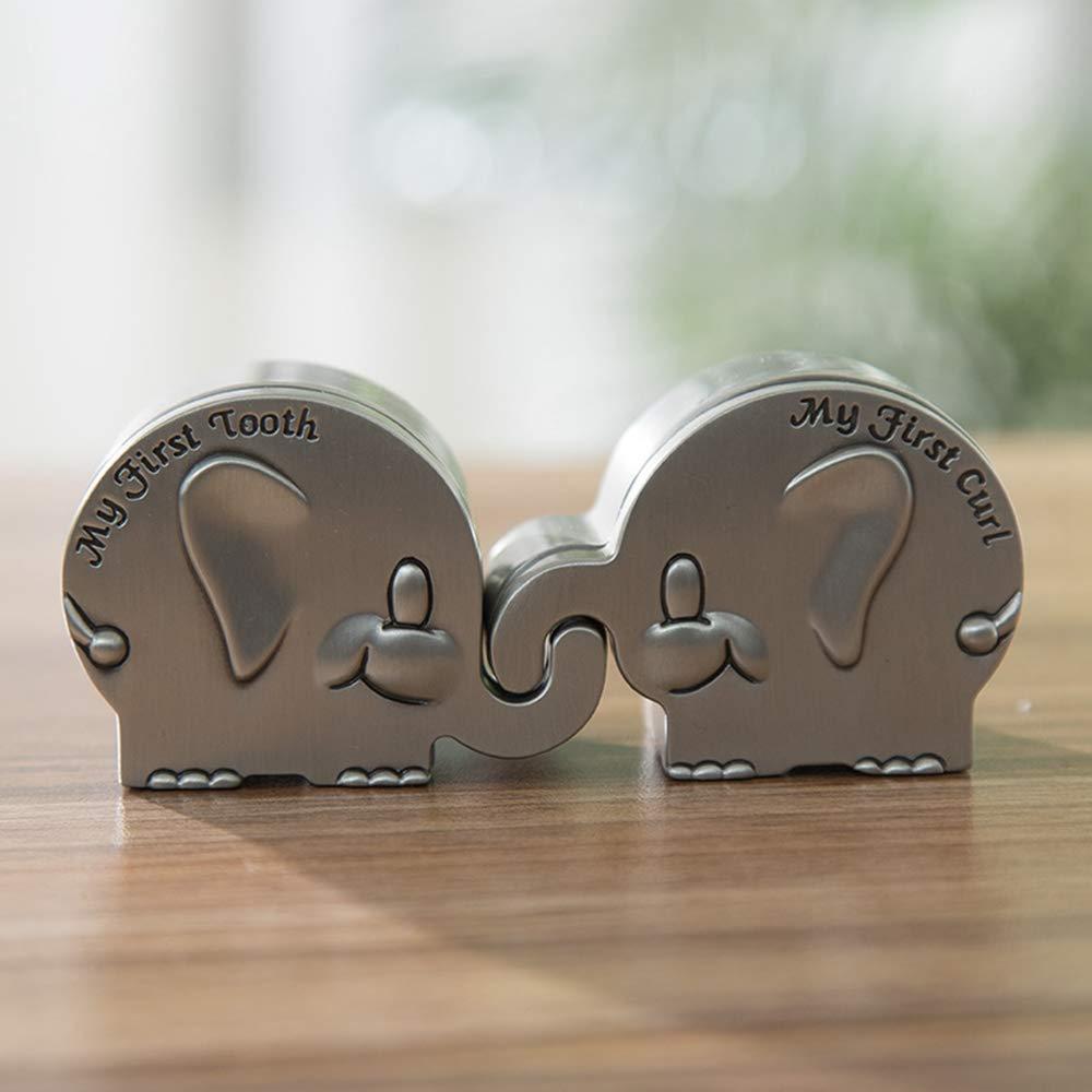Elefantenform Kids Memory Organizer EIN Paar 2 Count Aufbewahrungsbox Aus Metall F/ür Baby First Tooth Fairy /& Curl