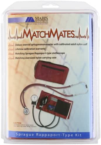 MABIS MatchMates Aneroid Sphygmomanometer and Sprague Rappaport Stethoscope Combination Manual Blood Pressure Kit with Calibrated Nylon Cuff, Professional Quality, Carrying Case, Orange