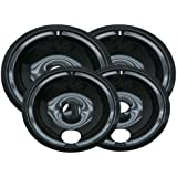 Range Kleen P119204XN 4 Pack Style B Black Porcelain Drip Bowls 2 Small 6 Inch and 2 Large 8 Inch