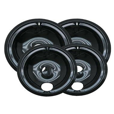 Range Kleen P119204X Porcelain GE Drip Pans Set Of 4 Containing 2 Units P119, P120, Black