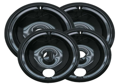 Range Kleen P119204XN 4 Pack Style B Black Porcelain Drip Bowls 2 Small 6 Inch and 2 Large 8 Inch (2 Piece Burner)