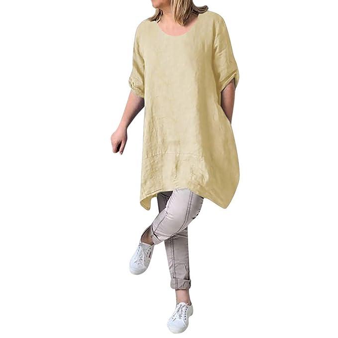 67553defb1 Women Summer Cotton Linen Dress Casual Boho Roll Sleeve Loose Oversize  Irregular Tunic Tops Mini Shirt