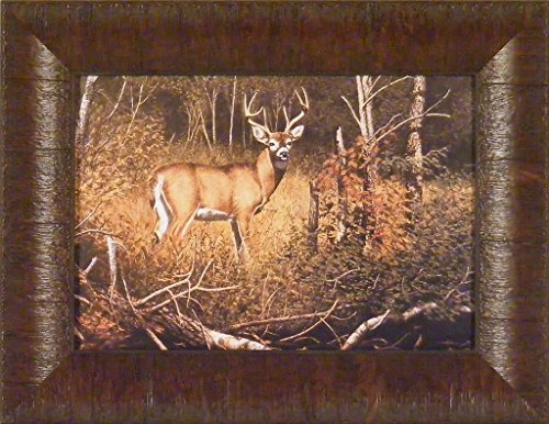 River Bottom Buck by Richard Plasschaert 10x13 Whitetail Deer Antlers Hunting Framed Art Print Picture (Buck River Bottom)