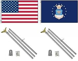 3'x5' US AMERICAN y US Air Force poliéster banderas y dos Kits de mástil de aluminio de 6'