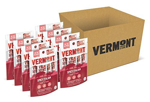 Vermont Smoke & Cure Mini Pork Stick Go Packs, Antibiotic Free, Gluten Free, Spicy Italian, Six 0.5oz Sticks Per Pouch, Pack of 8 Pouches by Vermont Smoke and ()