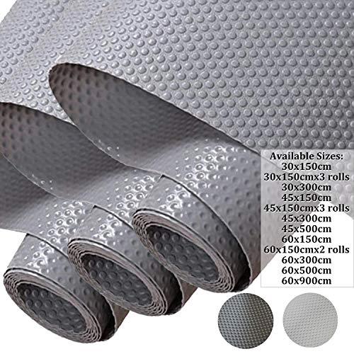 Hersvin 45x150cmx3 Rollos Alfombra Antideslizante para Cajon de EVA, No-adhesivo Impermeable Antibacteriano Proteger Estantes, Cocina Gabinete, Refrigerador, Mesas (Gris/Puntos)