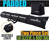 ski boots fisher - Athletico Padded Ski Bag Combo - Ski Bag & Separate Ski Boot Bag - Store & Transport Skis Up to 200 CM and Boots Up To Size 13 - Padded to Protect All Your Ski Gear and Equipment for Travel (Black)