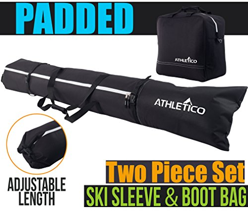 Heated Transport Cart (Athletico Padded Ski Bag Combo - Ski Bag & Separate Ski Boot Bag - Store & Transport Skis Up to 200 CM and Boots Up To Size 13 - Padded to Protect All Your Ski Gear and Equipment for Travel (Black))