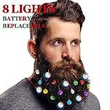 DecoTiny Battery Replaceable 20 Beard Lights Ornaments, 8 Pcs Lights and 12 Pcs Colorful Sounding Jingle Bells, Xmas Men Gifts(8 LED+ 12 Bells)