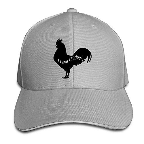 Flex Fit Sandwich Bill Cap (I Love Chicken Baseball Hat Unisex Cotton Adjustable For Women Cute Flag Sandwich Hats)