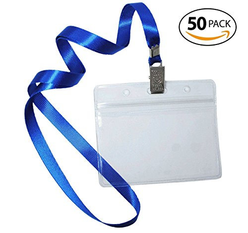 Bird Fiy 50 Pcs Waterproof Type Top Quality Clear Plastic Horizontal Name Tag Badge Id Card and 50 Pcs Blue Lanyard