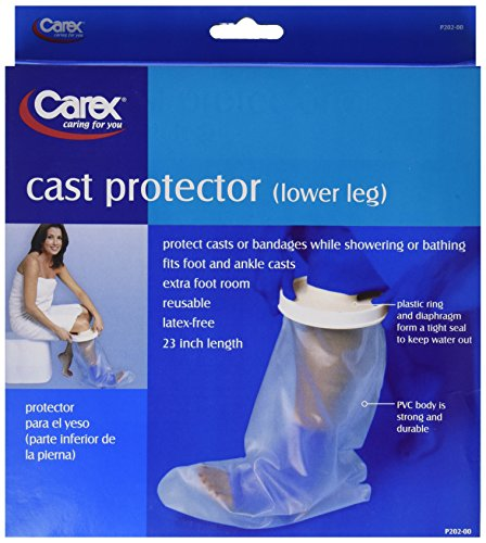 Carex Cast Protector Lower Leg, Protects Lower Leg Casts and Bandages while Showering, Latex Free Plastic with a Tight-Sealing Plastic Ring & (Diaphragm Seal)