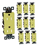 10-Pack Decorator Framed Duplex Receptacle - 15 Amp, Residential Grade, Grounding, Quick Wire Push-In & Side Wired - Ivory Color - by SleekLighting