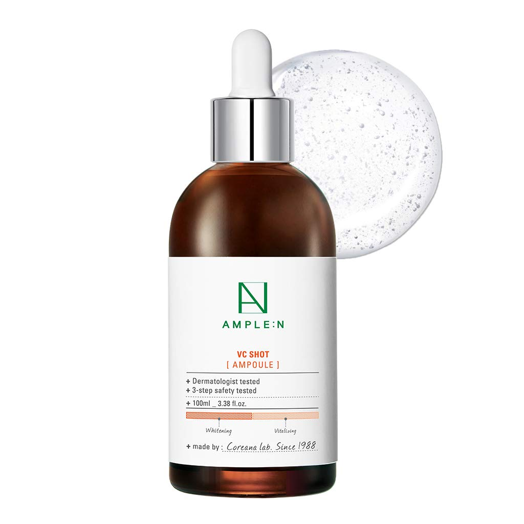 [AMPLE:N] VC Shot Ampoule 3.38 fl. oz. (100ml) - Vitamin C Brightneing & Moisturizing Ampoule for Tired Skin, Real Vitamin Brightening for Radiant and Youthful Skin