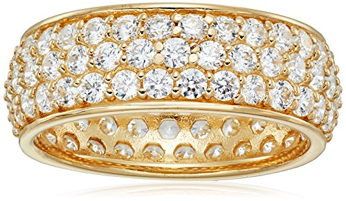 Yellow Gold-Plated Sterling Silver Swarovski Zirconia Three-Row Pave Round Cut Ring, Size 7