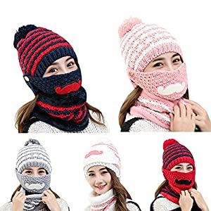 44d24c14d46 Powerfulline Women s Winter Warm Knitted Beanie Bobble Hat Outdoor Face  Mouth Mask + Scarf