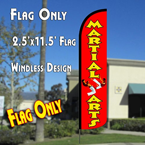 Cheap MARTIAL ARTS Windless Polyknit Feather Flag (11 x 2.5 feet)