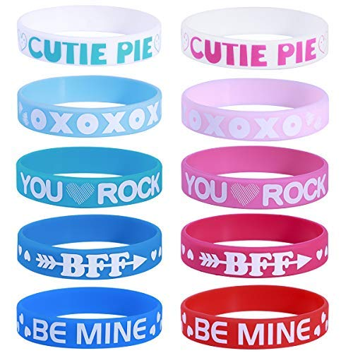 Unomor 40PCS Valentines Day Heart Silicone Bracelets Wristbands Party Favors Kids Gifts Supplies (Valentine Bracelets for Kids)