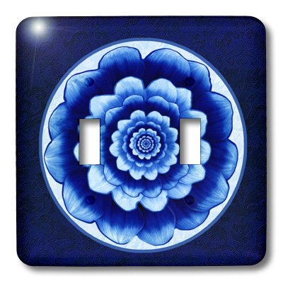 3dRose lsp_31753_2 Pastel Blue and Cobalt Fantasy Mandala Flower On Royal Blue Background Double Toggle Switch