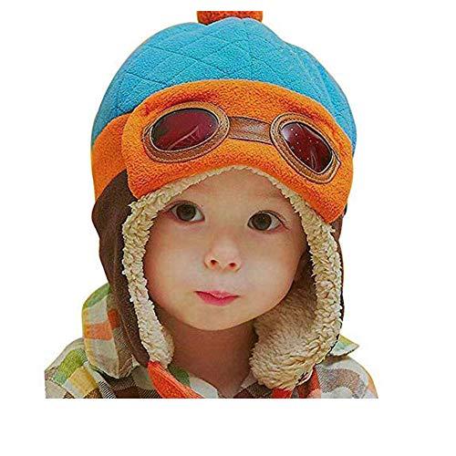 CELLTEK Fashion Boys Cool Pilot Aviator Crochet Earflap Hats Warm Winter Cap (Blue)