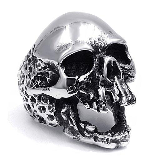 Elfasio Men Skull Ring Vintage Gothic Biker Stainless Steel Jewelry Size 7-15