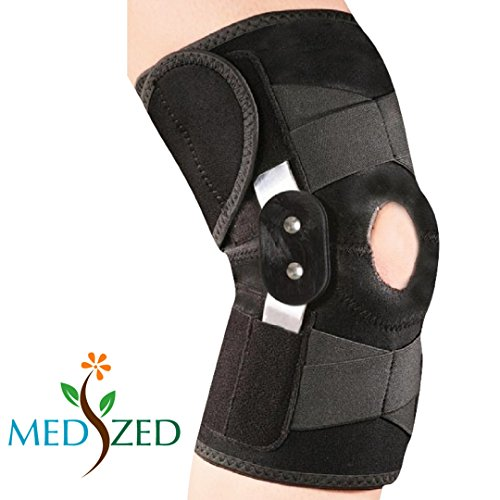 [MEDIZED Adjustable Double Metal and Hinged Knee Brace Support Protection Arthritis Sports Injury Open Patella Gym Basketball Running Jogging football Cycling Compression Wrap] (Hinged Knee Brace Support)