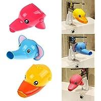 Musuntas 2 pezzi prolunga per rubinetto, extender per bambini, lavaggio mani bimbi, design con animali stile cartoni animati, anatra + elefante