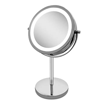 Lighted Makeup Mirror   LED Vanity Mirror 10x Magnification Double Side  Mirror 7u0026quot; Cosmetic Table
