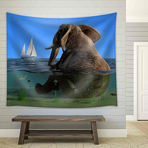 The Elephant is Sitting in The Water Fabric Wall