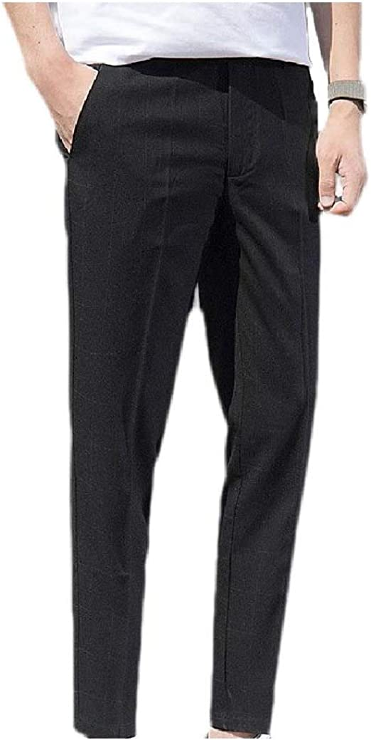 VITryst Mens Wrinkle-Resistant Fashion With Pocket Colorblock Flat-Front Work Pant