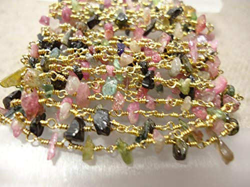1 Feet Natural Tourmaline Chips Shape Beads Silver, Gold & Black Oxidised Plated Wire Warp Rosary Chain by LadoNarayani