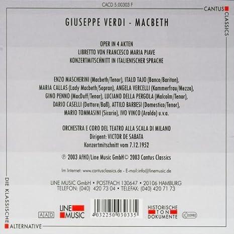 Macbeth: Orch.E Coro Del Teatro Alla Sc, Verdi: Amazon.es: Música
