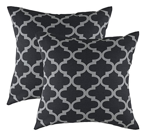 TreeWool, (2 Pack) Throw Pillow Covers Trellis Accent Decorative Pillowcases Toss Pillow Cushion Shams Slips Covers for Sofa Couch (16 x 16 Inches / 40 x 40 cm; Black & - 16 Inch Decorative Throw