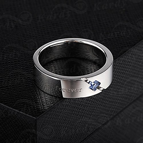 Men's Natural Blue Spinelle Gemstone Solid 925 Silver Gold White Plated Engagement Wedding Promise Fashion Band Ring Set by Kardy (Image #2)