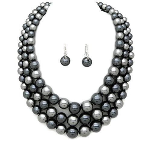 Women's Simulated Faux Three Multi-Strand Pearl Statement Necklace and Earrings Set (Grey (Grey Faux Pearl Necklace)